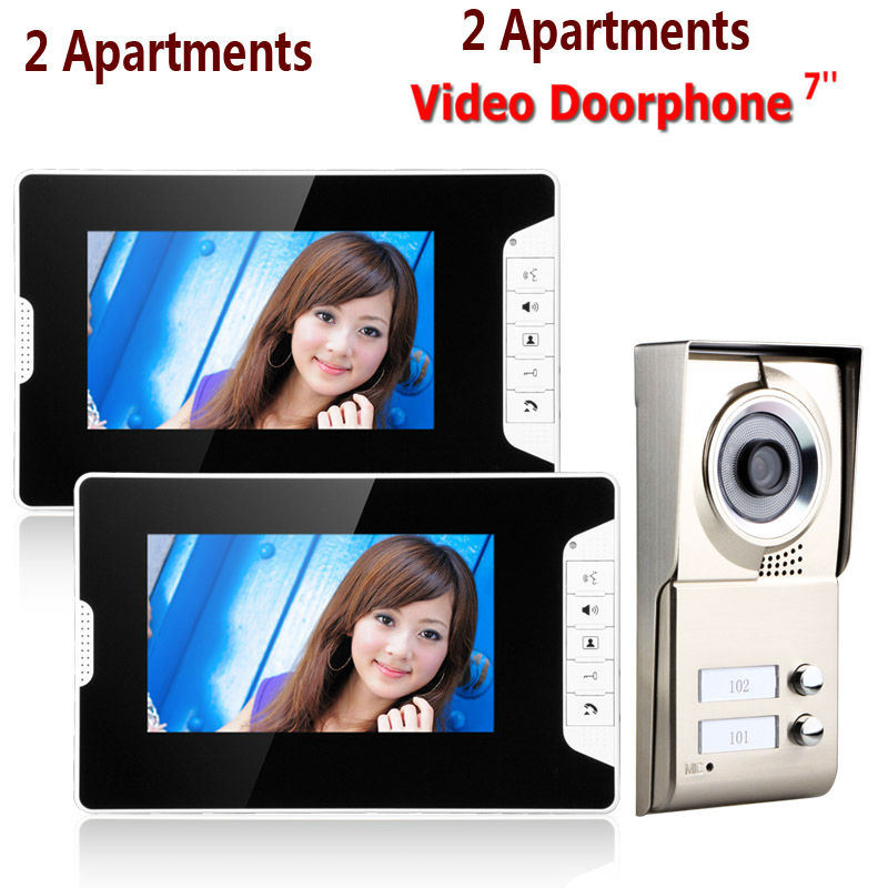 7inch LCD 2 Apartments Video Door Phone Intercom System IR-CUT HD 1000TVL Camera Doorbell Camera with 2 button 2 Monitor