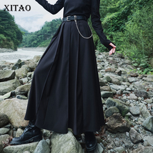 Women Pleated-Skirt XITAO Irregular-Sashes Fashion-Style Casual Temperament Solid DZL2529