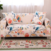 Nordic Print Flower Sofa Cover Slipcovers Cotton Elastic Sofa Cover For Living Room Couch Cover Sofa Towel 1/2/3/4 Seater flower print tissue cover