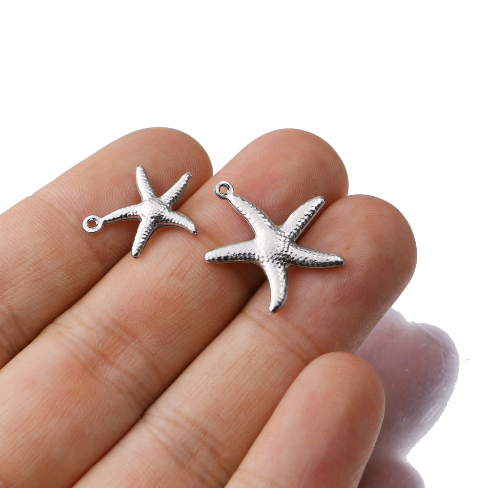 Aiovlo 20pcs/lot Charms Small Starfish Star Sea Shell Beach Stainless Steel Making Pendant for DIY Jewelry Bracelet Necklace