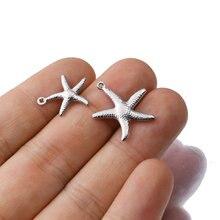 Aiovlo 20 adet/grup takılar küçük denizyıldızı yıldız deniz kabuğu plaj paslanmaz çelik yapma kolye DIY takı bilezik kolye