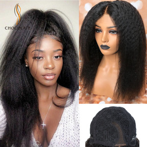 Cheap Brazilian Kinky Straight Wigs Yaki perruque cheveux humain Lace Front Kinky Straight Human Hair Girls Wigs парик(China)