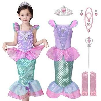 Vestido de princesa de La Sirenita de las muchachas de voguek para niños disfraz de fantasía de Ariel de verano ropa de fiesta de playa de escala para niños