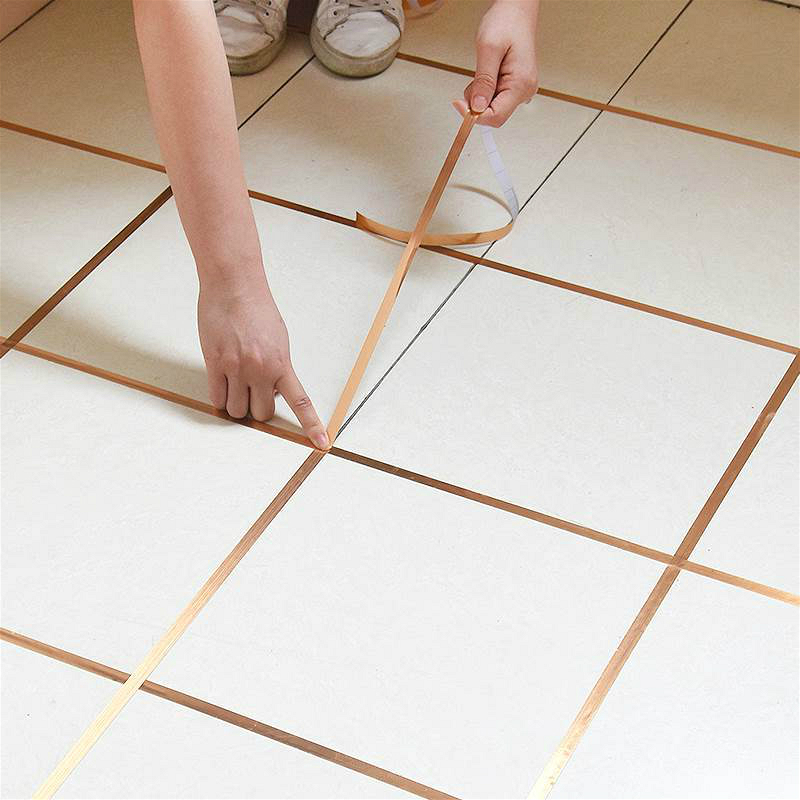 Gold Tile Gap Sealing Tape 50M Waterproof Mildew Proof Wall Seal Copper Foil Strip Silver Golden Rim Floor Home Decoration 2019