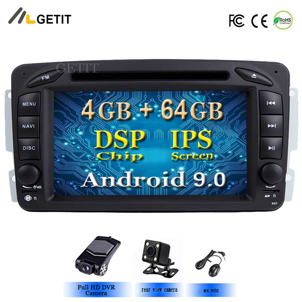 DSP Chip Android 9.0 Car Stereo Radio DVD Player for Mercedes/Benz/W209/W203/M/ML/W163/Viano/W639/Vito GPS Navigation  BT WIFI