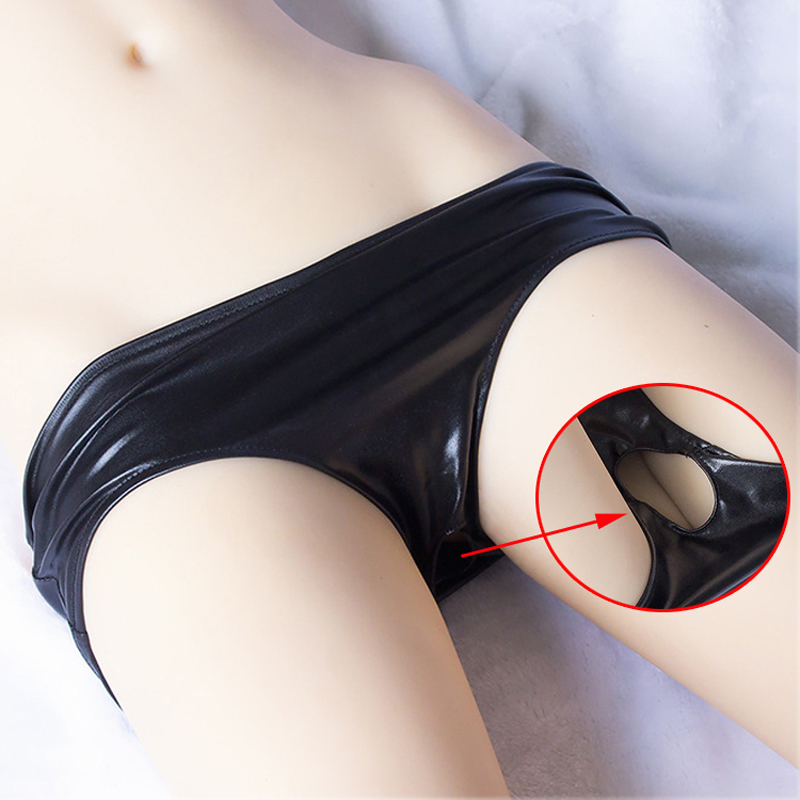 Women Sexy Crotchless Panties For Sex Leather Open Crotch Briefs Sex Lingerie Strap On Penis Chastity Panty With Hole Underpants