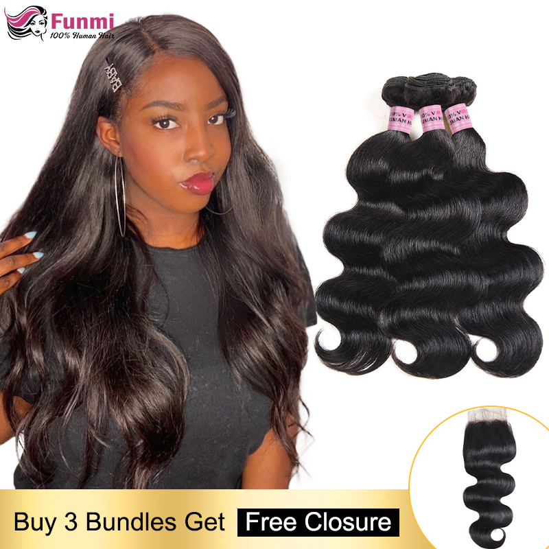 Free Closure Body Wave Human Hair Bundles Malaysian Hair Weave Bundles Body Wave Hair Bundles With Closure Human Hair Non-Remy