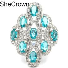 35x25mm Elegant Rich Blue Aquamarine SheCrown White Cubic Zirconia Silver Ring