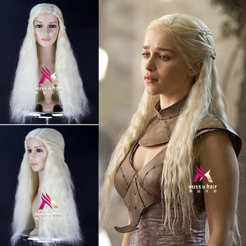 New Hair Cap + Game Of Thrones Daenerys Targaryen Silver Braided Long Wavy Front Wig Of Synthetic Lace For Female Girls + Wig