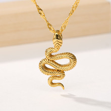 Fashion Boho Jewelry Snake Pendant Necklace Stainless Steel Gold Chain  For Women Girls Collier Femme 2020  Birthday Gifts