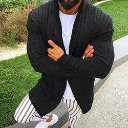 Women Stripe Knitted Cardigan Solid Color Warm Sweater Coats Woollen Outwear Fashion Knitting Streetwear Men Overcoats