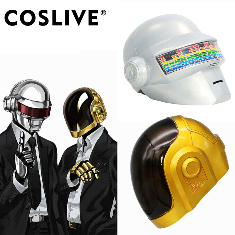 Coslive Daft Punk Mask Cosplay Full Head Helmet Costume Fancy Props Replica DJ Music Clubbing Party Cosplay Props Gold & White