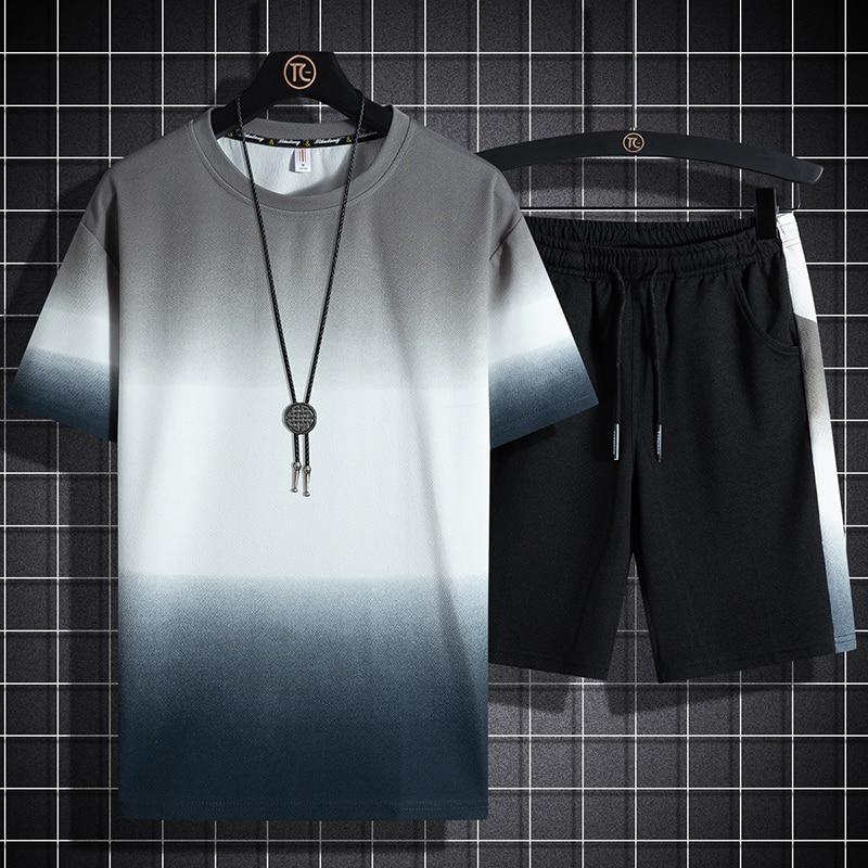 Спортивный костюм мужской повседневный из 2 предметов, футболка с коротким рукавом и шорты, спортивная одежда, 5XL, лето 2021