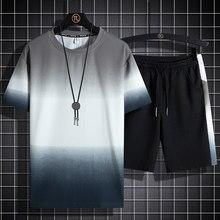 Conjunto de moda 2 pçs casual terno de suor manga curta camiseta shorts conjuntos masculino roupas esportivas 2021 verão 5xl