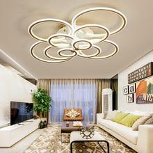 Hot White/Black led chandelier for living room bedroom study room remote controller dimmable modern chandelier ceiling AC90 260V