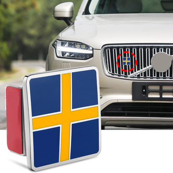 Swedish Flag Badge Sticker Metal For VOLVO S40 S60 S70 S80 S90 C30 C60 C70 XC40 XC60 XC70 XC80 XC90 Grill Trunk Logo Car Styling image