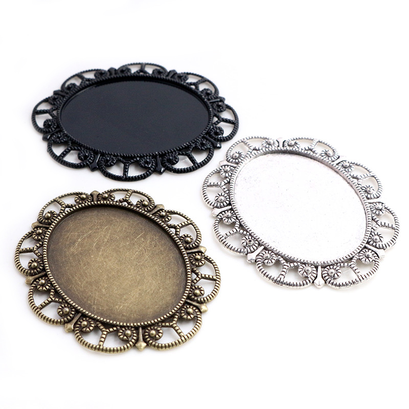 New Fashion 5pcs 30x40mm Inner Size Antique Silver Plated /Bronze/Black Flower Style Cabochon Base Setting Charms Pendant