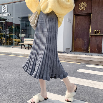 Cotton Long Skirt Pleated Knitted Mid Length Skirt High Waist Umbrella Skirt Autumn and Winter 2019 Pleated Skirt Long Skirt фото