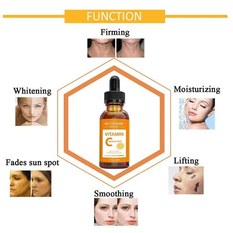 30 Ml 100% Pure Vitamin C Serum Liquid Freckle Remove Acne Scars Hyaluronic Acid Anti-Wrinkle Vc Face Serum Fade Dark Spot