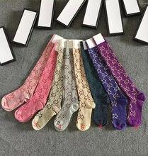 15 cores de seda dourada mulher meias de luxo carta bordado sobre-joelho comprimento senhoras meias legging quente sem caixa