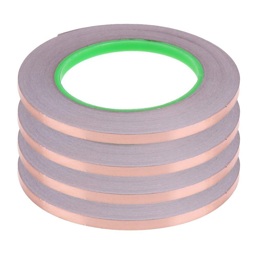 4PCS/SET 20 Meters 0.6CM Double Sided Conductive Copper Foil Tape Strip Adhesive EMI Shielding Heat Resist Tape