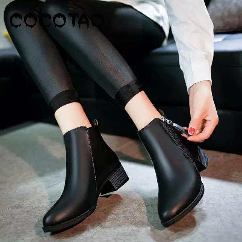 With Thick With Martin In 2019 Autumn And Winter Boots Side Zippers Han Edition British Female Boots Joker Motorcycle Boots25