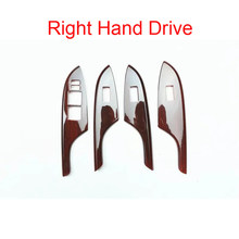 Para toyota corolla 2007-2013 movimentação da mão esquerda/direita 4 pçs de madeira abs chrome porta do carro janela elevador interruptor botões capa estilo do carro