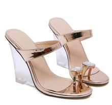 2020 Sexy Wedges High Heels Party Summer Woman Shoes Women Slip On Flip Flops Sandals new 2017 summer fashion sexy girl rhinestone flowers golden slippers high wedges heels sandals women slip on woman casual shoes