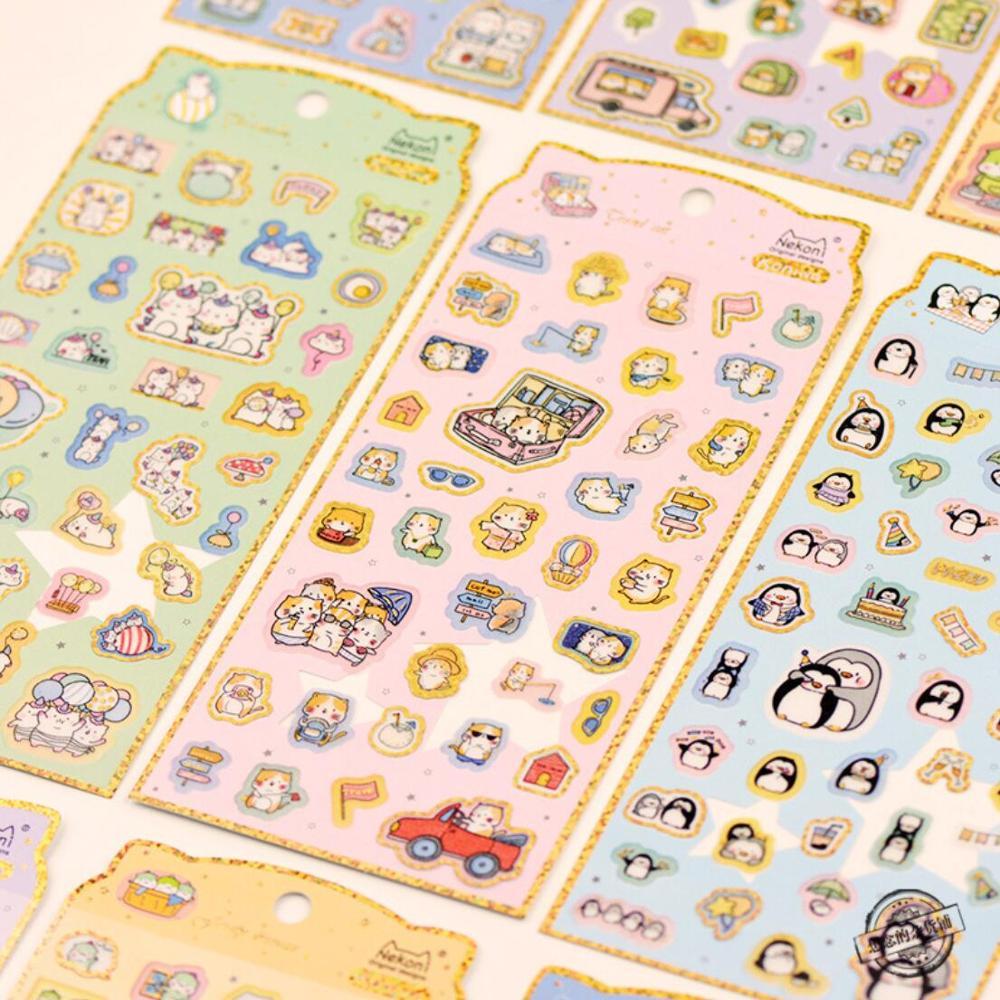 Nekoni Kawaii Little Animals Gilding Decorative Washi Stickers Scrapbooking Stick Labell Diary Stationery Album Stickers