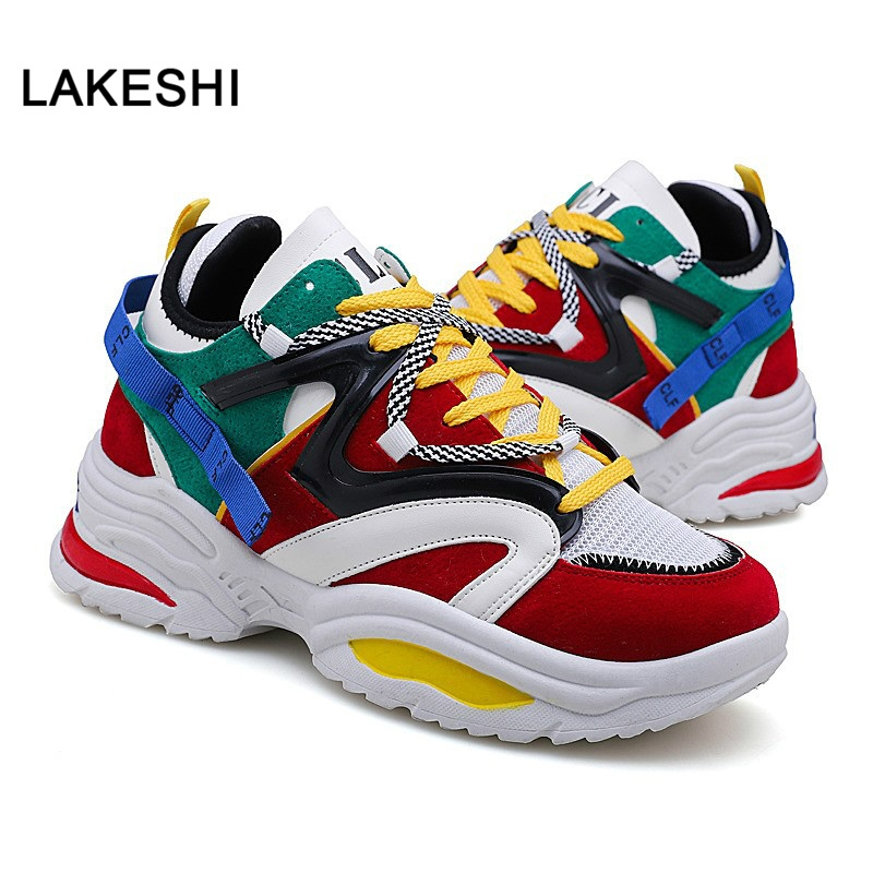 2019 New Women Casual Shoes Summer Platform Shoes Women Sneakers Lace-Up Sewing Med Chunky Shoes For Women Shoes Zapatos Mujer
