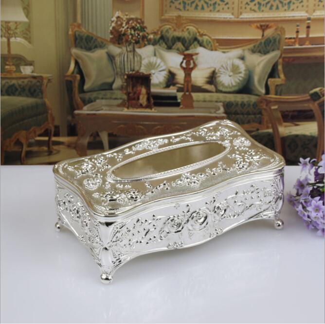 Высококачественная бронзовая металлическая коробка для ткани, ретро держатель для салфеток с цветком, тканевый контейнер для украшения дома ZJH007 - Цвет: silver plated
