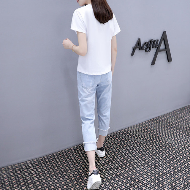 2021 Summer 2 Pieces Jeans Suits Women  Printing Hot Drilling T-Shirts + Calf-Length Denim Ripped Pants Sets Tracksuit Set 6