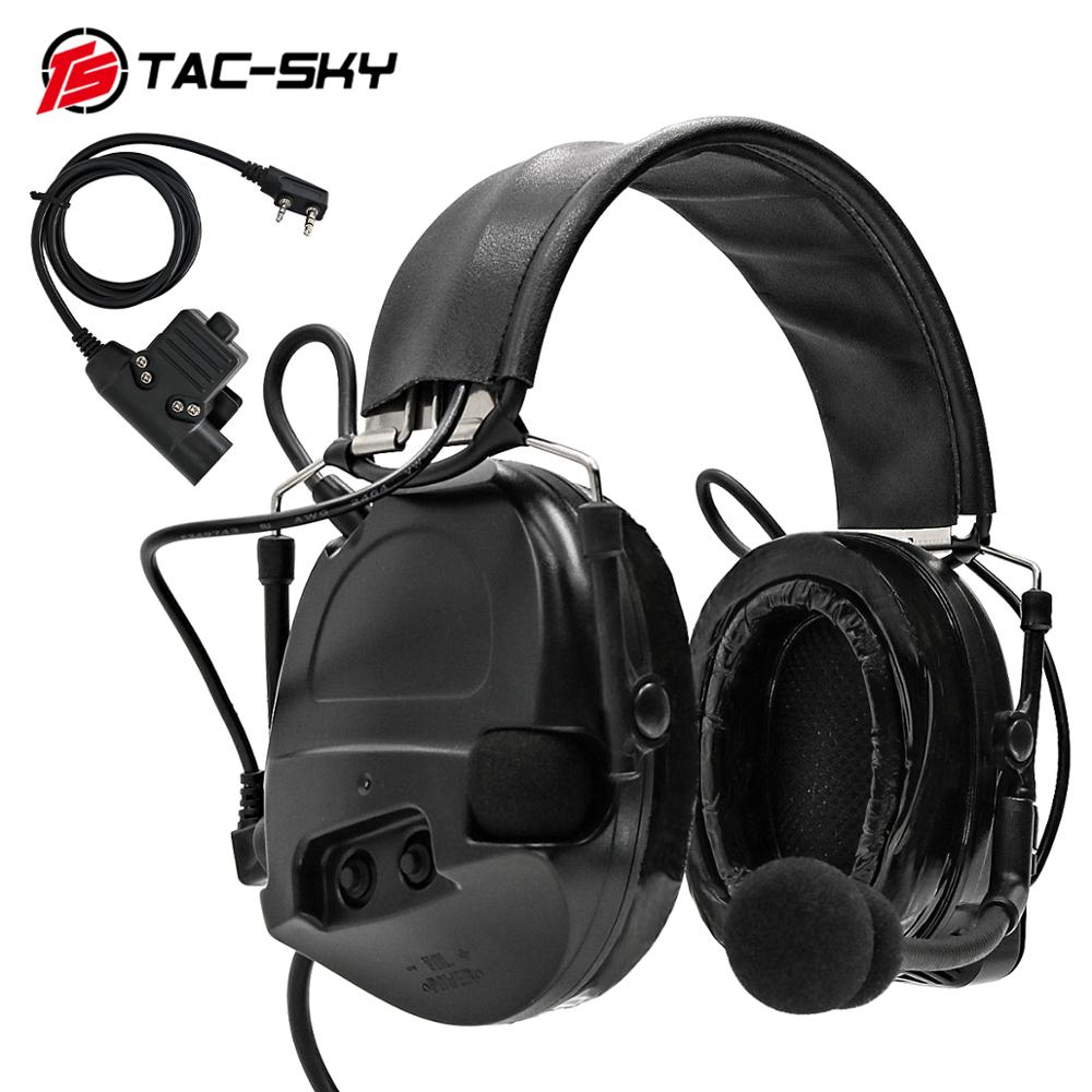 TAC-SKY Outdoor Sports Hearing Defense Noise Reduction Pickup Military Shooting Tactical HeadsetCOMTACI Silicone Earmuffs+U94PTT
