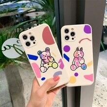 INS Bear Graffiti Painting Phone Case for Redmi Note 9 Funda Straight Edge Soft Cover for Redmi 6 6A 7 8 8A Redmi Note 7 8 Coque