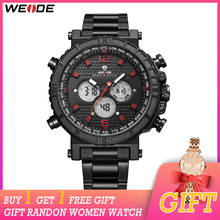 WEIDE Mens Sports Auto Date Display Back Light Stop Watch Digital Quartz Movement Repeater Multiple Time Zone Alarm Wristwatch weide watch repeater analog lcd digital display outdoor men sport quartz movement date stopwatch back light stainless steel band