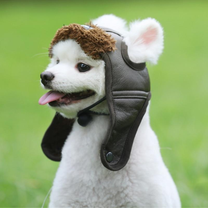Pet Dog Pilot Hat Leather Warm Dog Cap Comfortable Handsome Pet Caps Funny Cosplay Pet Dog Halloween Hat Pet Supplies