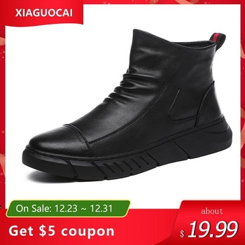 Men Shoes Autumn Winter Warm Man Ankle Boots With Fur Black High Top Male Footwear Slip-on High Quality Plush Boots Casual Shoes mycolen new brand high quality spring autumn shoes men super warm leather boots fashion high top man ankle boots askeri bot