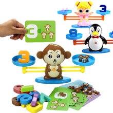 Монтессори математическая игра настольная обезьяна щенок балансирующие