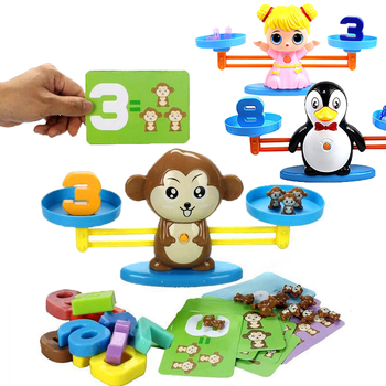 Montessori Math Match Toy Board Game Monkey Puppy Balancing Scale Number Balance Game Baby Educational Learning Add and Subtract set montessori educational baby early evelopment scale funny balance game wooden toy children math toy gift