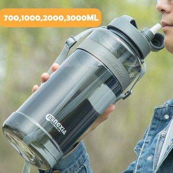 2020 New Sport Drinking Water Bottle with Straw BPA Free 1000 Ml 2000ml  Plastic Water Drinking Bottle for Water 1L