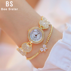 Image 1 - Relógios femininos moda ouro senhoras diamante pulseira de aço inoxidável relógios de pulso para menina novo relógio de quartzo retro zegarki meskie