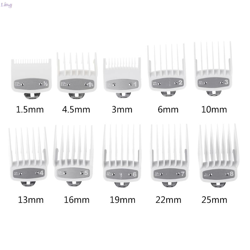8/10Pcs Barber Shop Styling Guide Comb Sets Transparent Clipper Hair Limit Comb Trimmer Attachment Hairdresser Hair Clipper