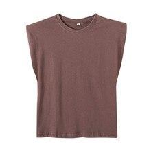 2021 nouveau printemps femmes épaulettes profil gilet t-shirt femme solide hauts amples T1370