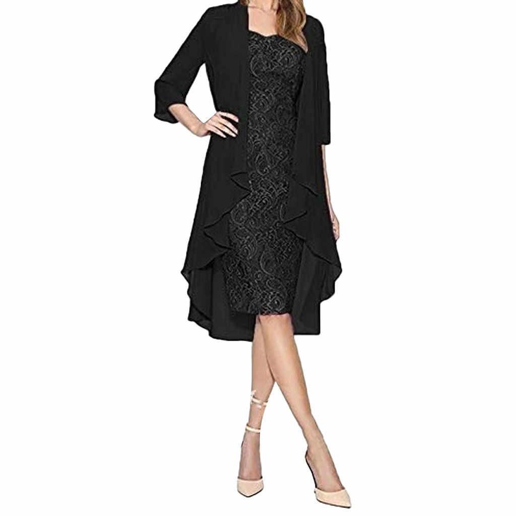אלגנטי שמלת נשים 2pcs ארוך שרוול שני חלקי תחרה נשים שמלה נקבה שחור ערב המפלגה שמלת Vestidos אביב שמלת ropa muje