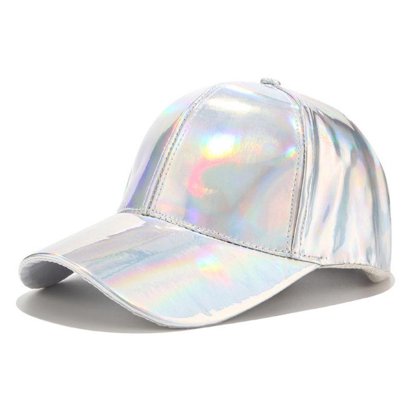 Women Men Faux Leather Baseball Cap Glitter Metallic Holographic Rainbow Reflective Hip Hop Adjustable Strapback Peaked Hat