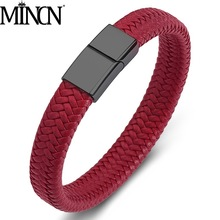 MINCN Mens Bracelet Stainless Steel Titanium Braided Leather Boutique Simple Men and Women