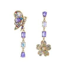 2019 Asymmetrical Purple Crystal Water Flower Butterfly Drop Earrings Women Accessories Party Jewelry