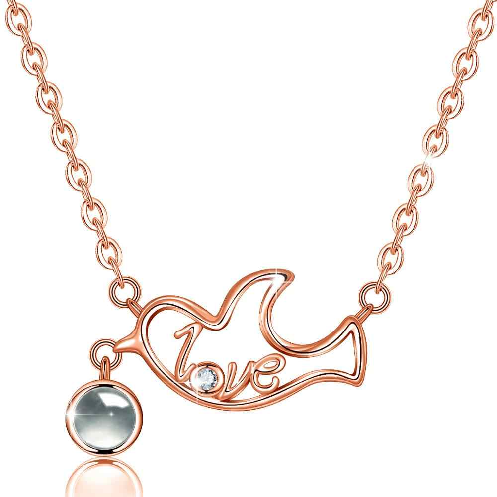 EUDORA 925 Sterling Silver I love you Projection Pendant Dove Necklace For Steadfast Love Rose Gold Necklace For Lover Best Gift