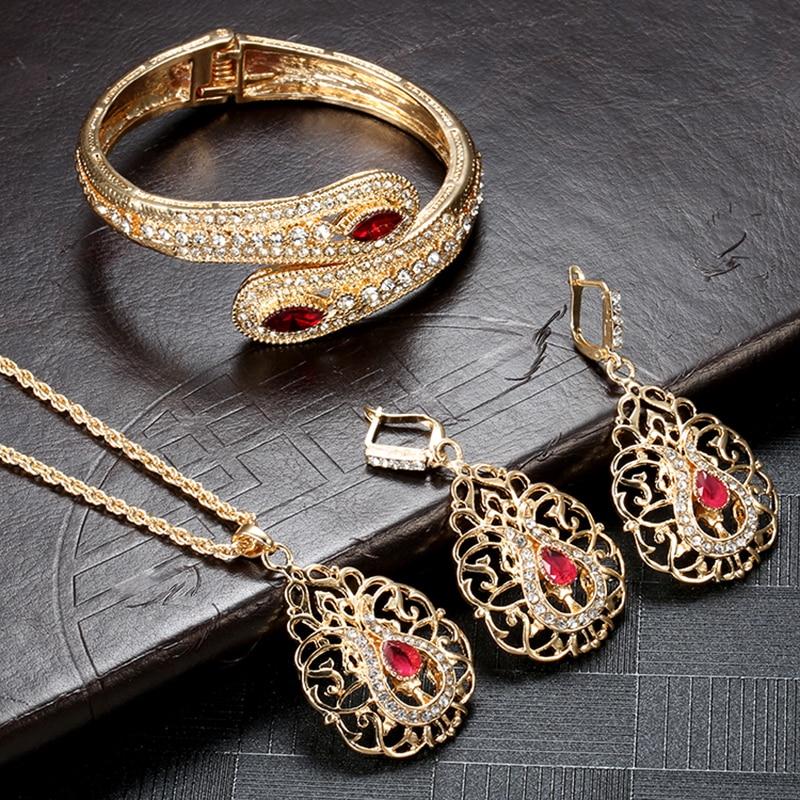 Kinel Luxury Morocco Wedding Jewelry Set Gold Color Drop Earring Cuff Bracelet Bangle Pendant Necklace Arab Hollow Metal Gift