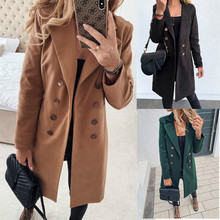 Winter Coats and Jackets Women Double Breasted Long Coat Korean Elegant Vintage Coat Female Plus Size Warm Black Blazer Jacket cheap Polyester REGULAR A-C-C1924 Turn-down Collar Full Slim Button Casual Solid Pure color Women s wool coat Double row buckle